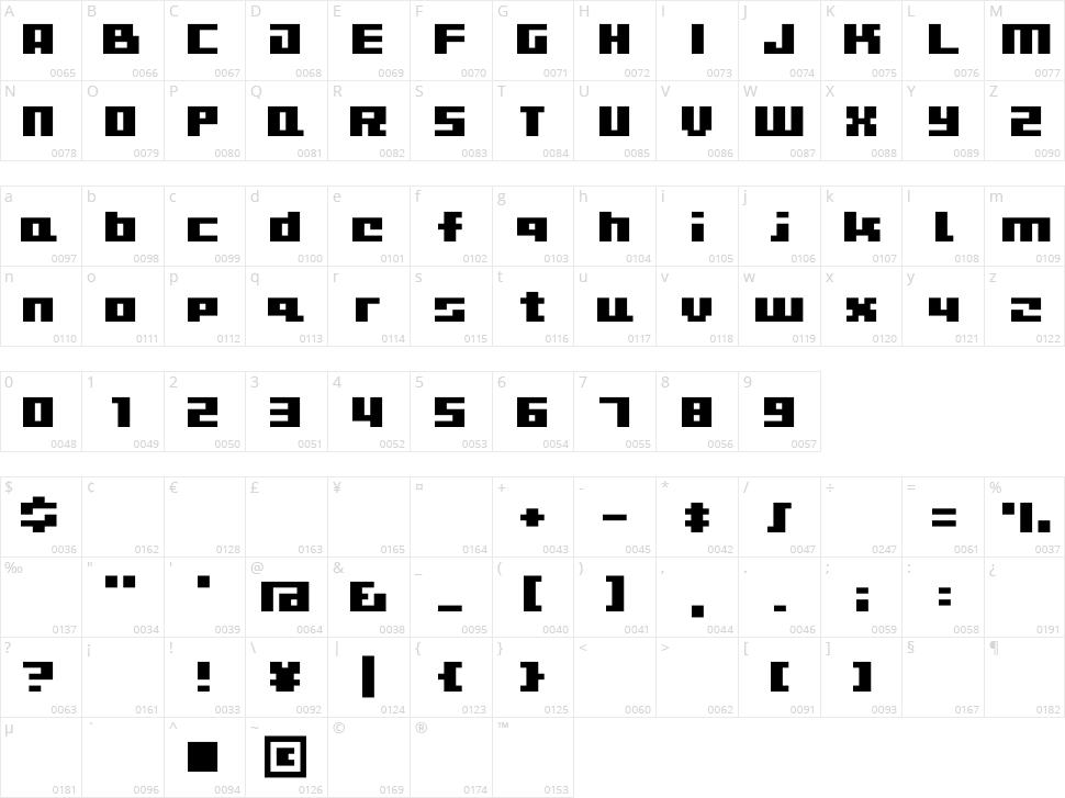 D3 CuteBitMapism Character Map