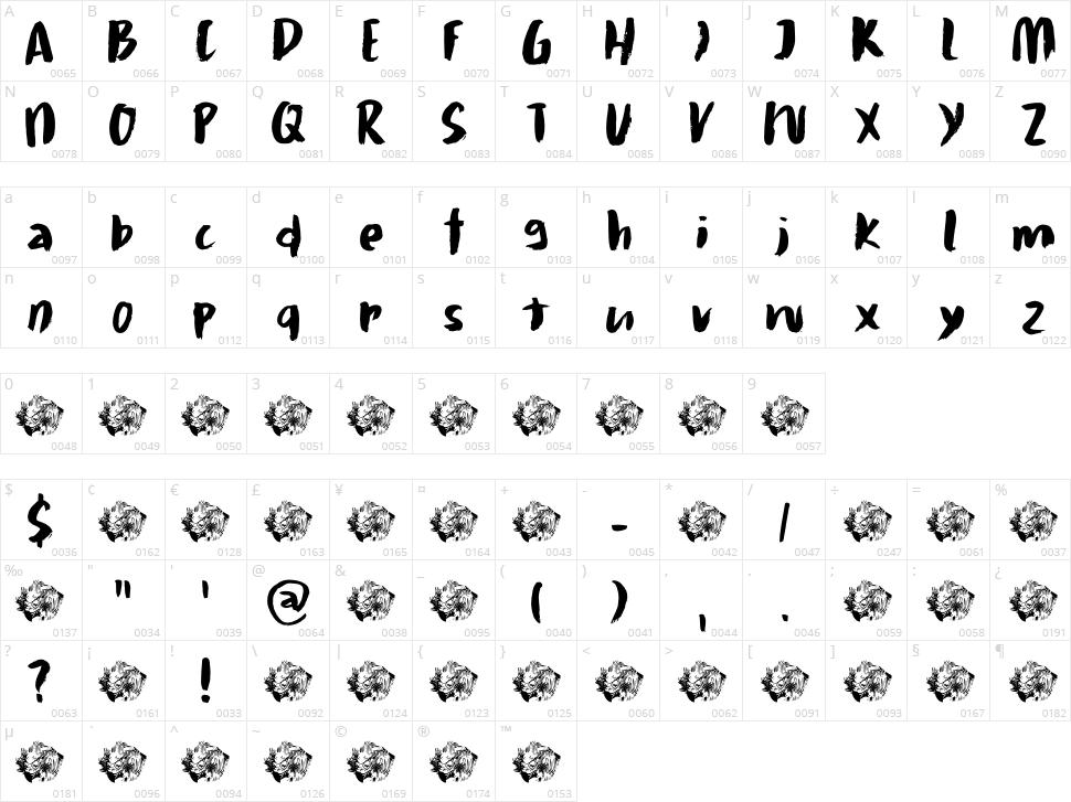 Daitengu Character Map