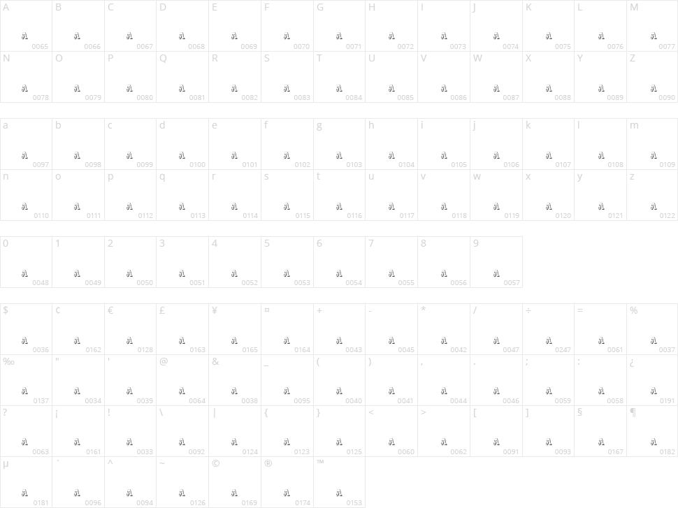 Dak Font Character Map