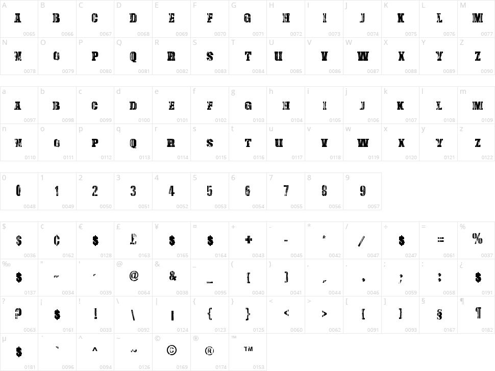 Damaged Serif Character Map