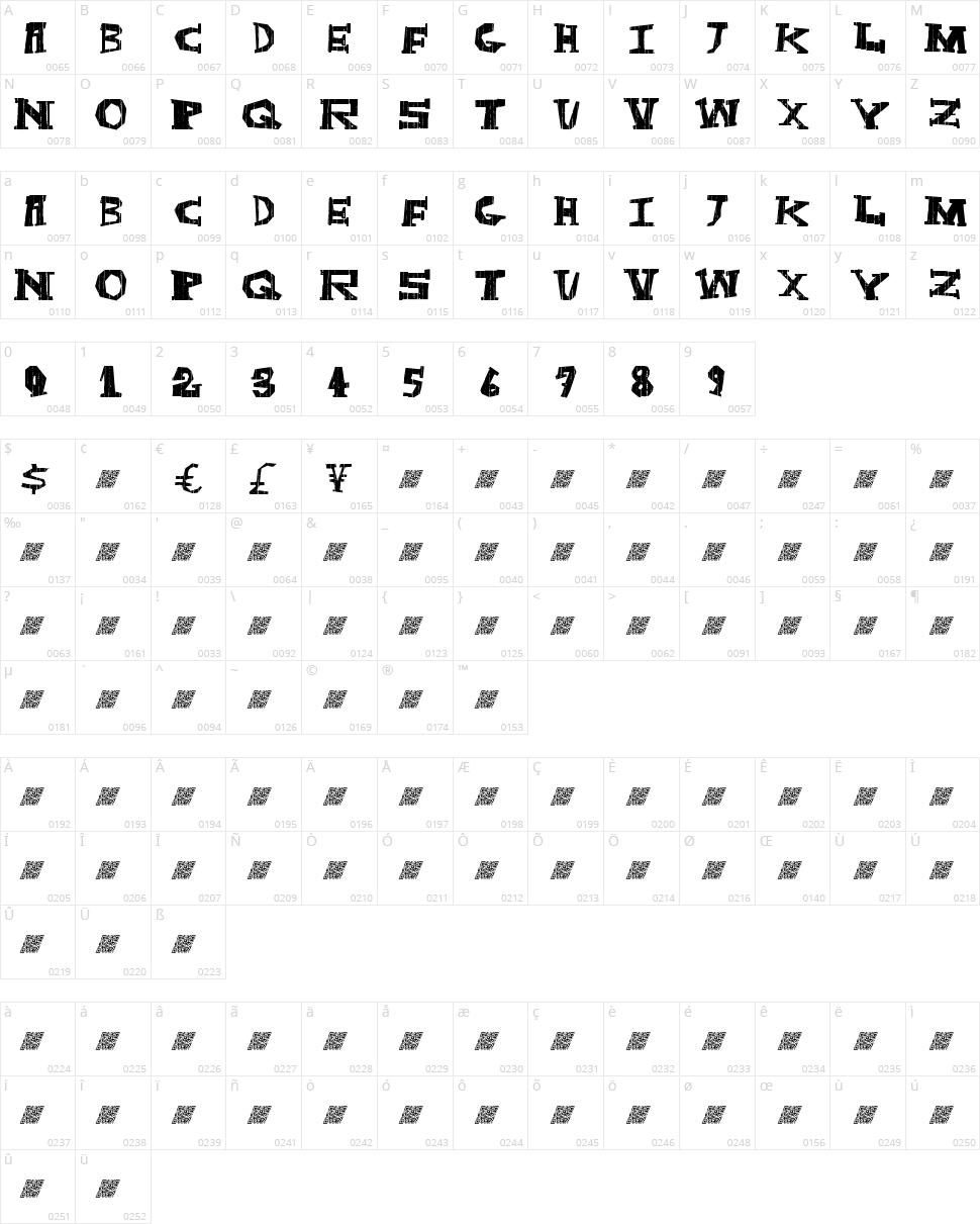 Dark Box Character Map