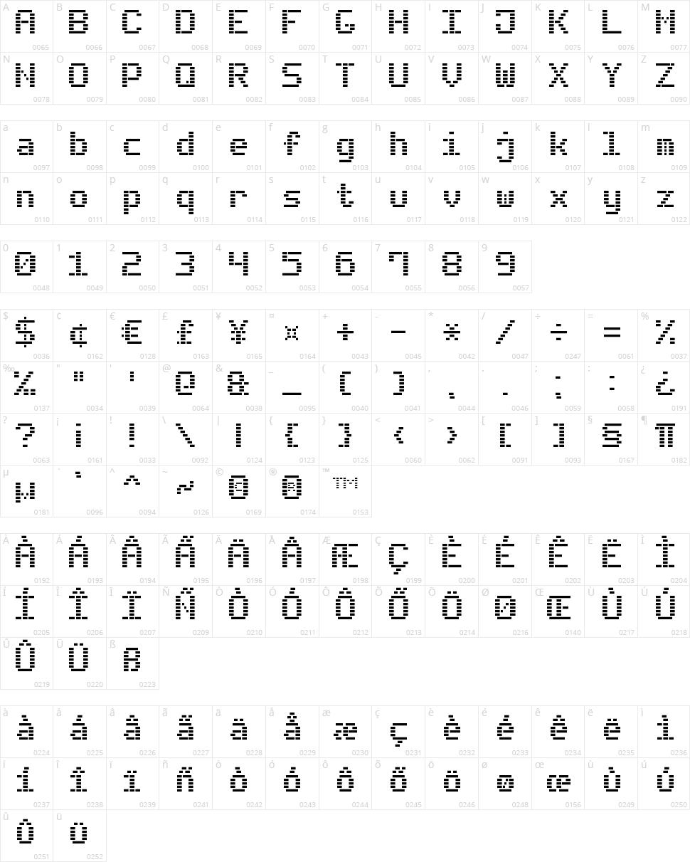 Dash Digital-7 Character Map