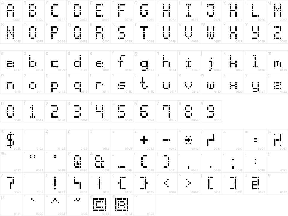 Dash Dot LCD-7 Character Map