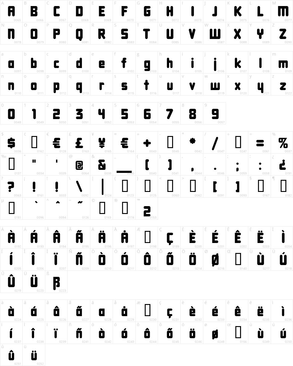 DBXL Nightfever Character Map