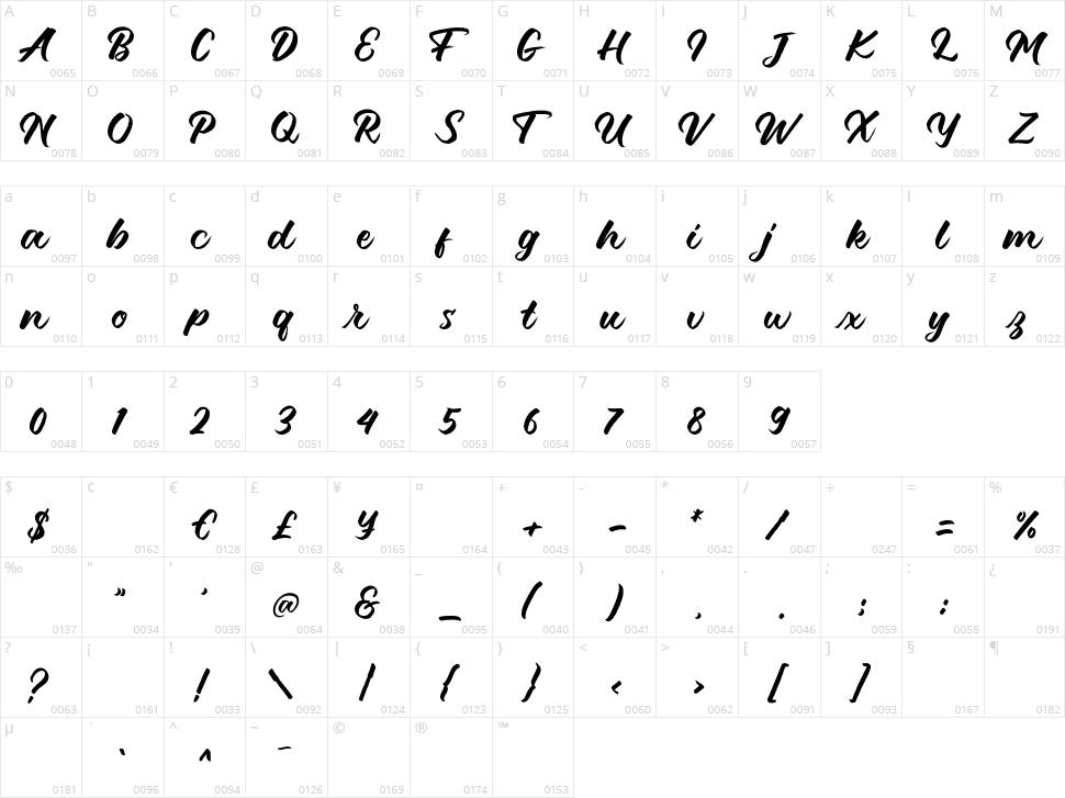 Debutan Brush Script Character Map