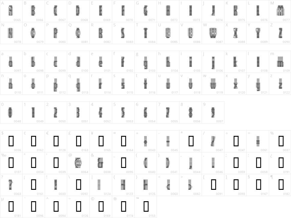 Deeter Character Map