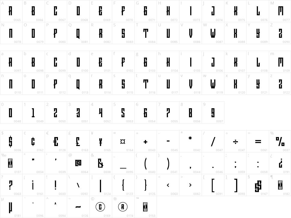Demarus Character Map