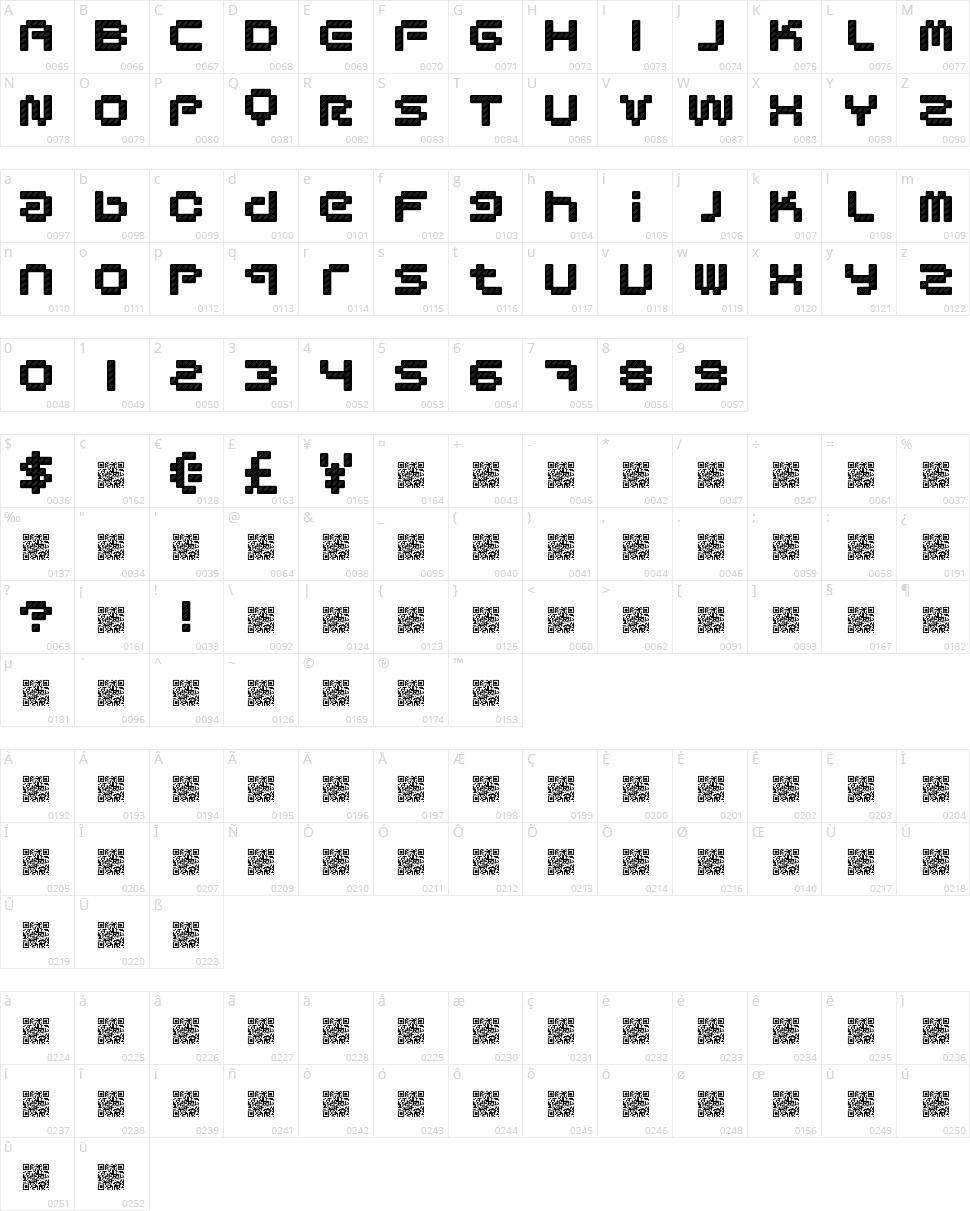 Designer Pixels Character Map