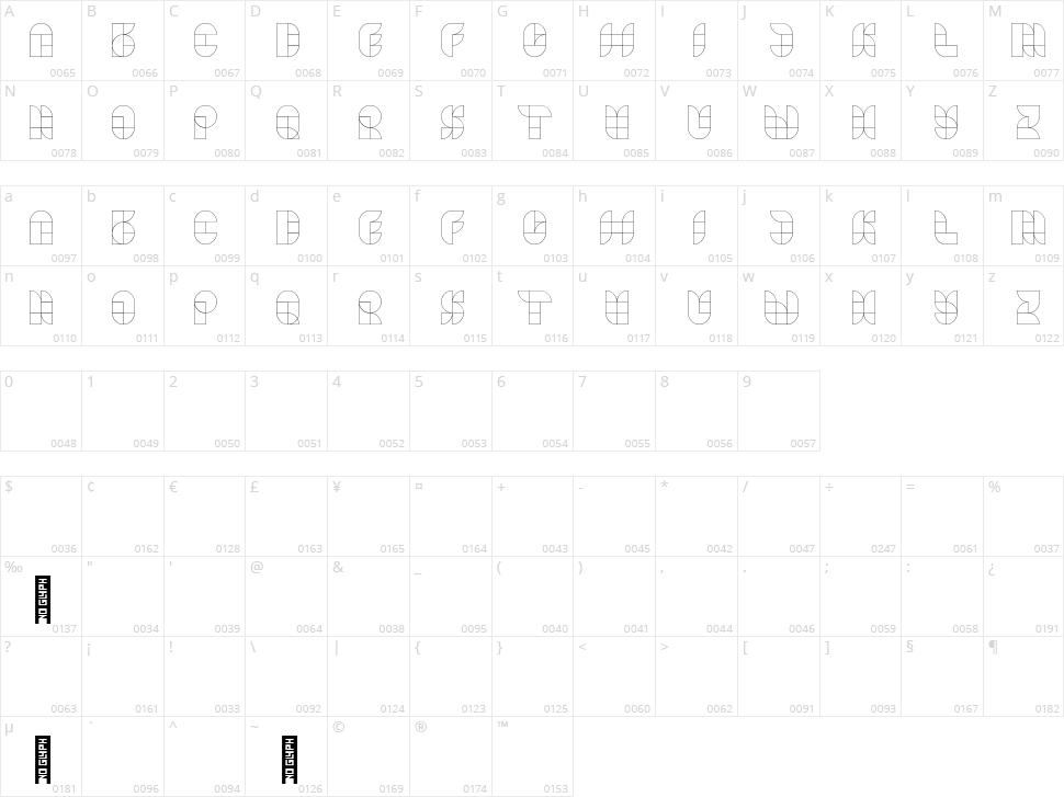 Designkwartier Line Caps Character Map
