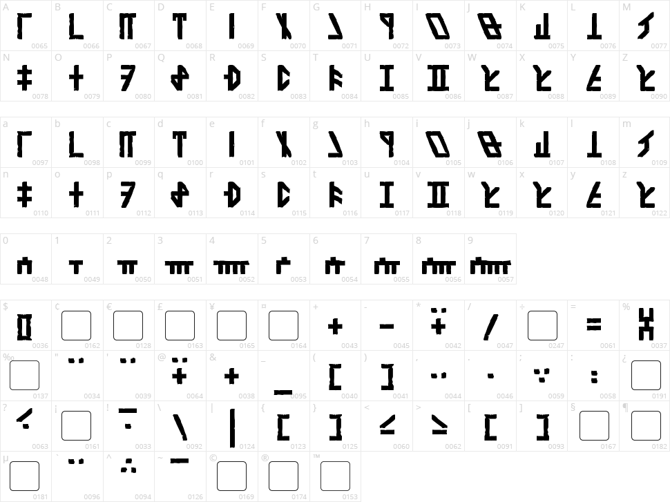 Dethek Stone Character Map