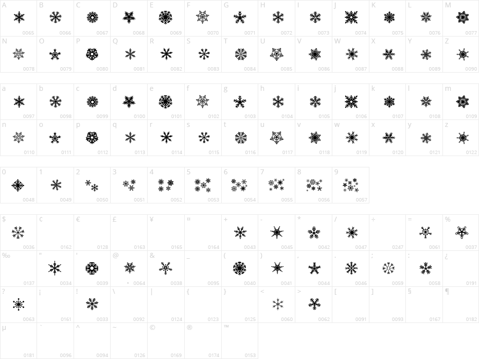 DH Snowflakes Character Map