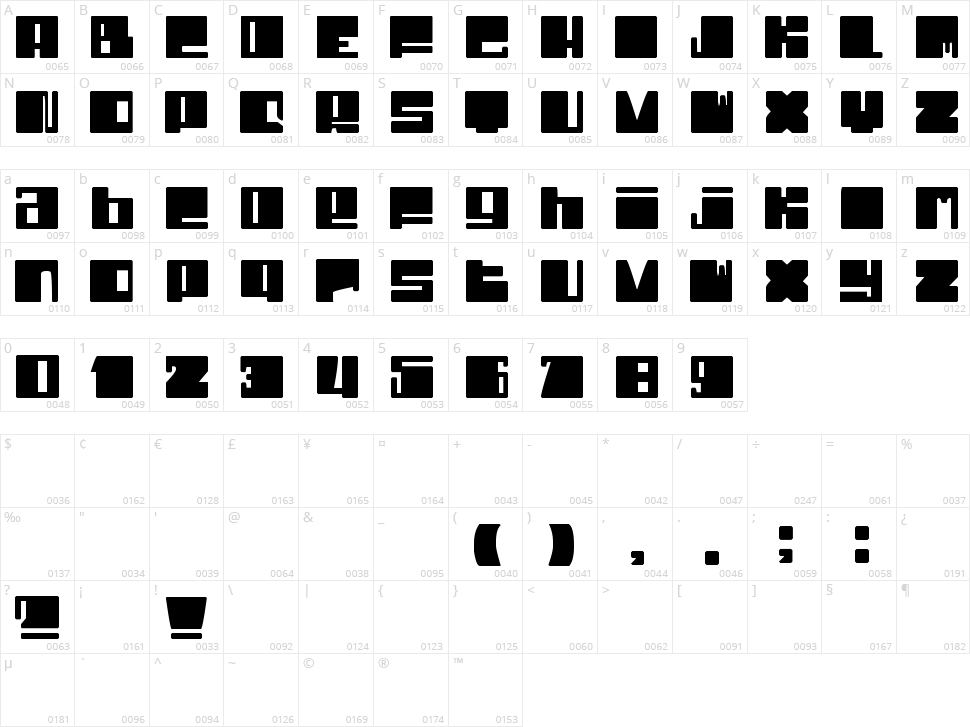 Dhe Cruncy Character Map