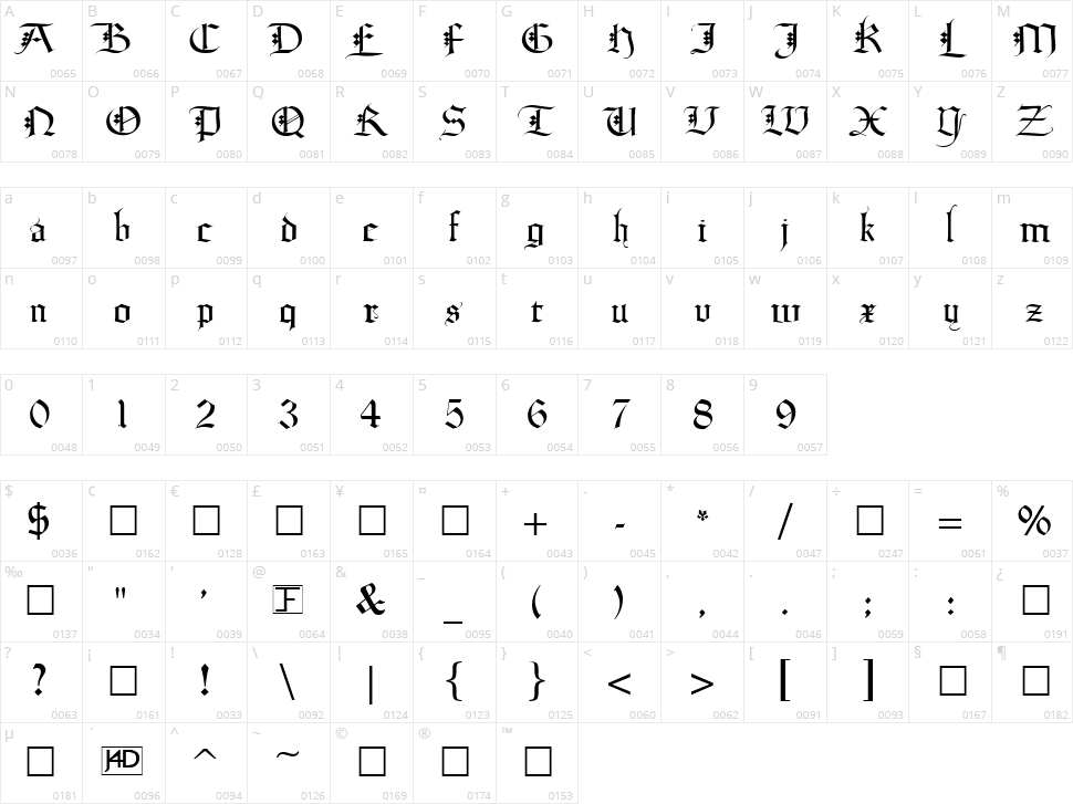 Diamond Gothic Character Map