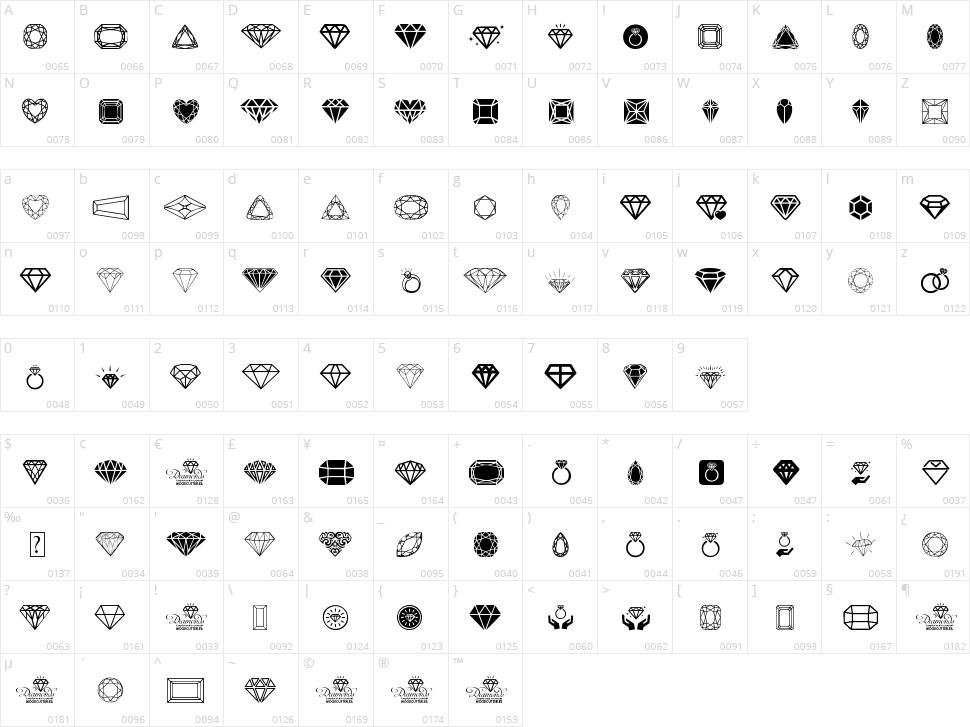 Diamonds Character Map