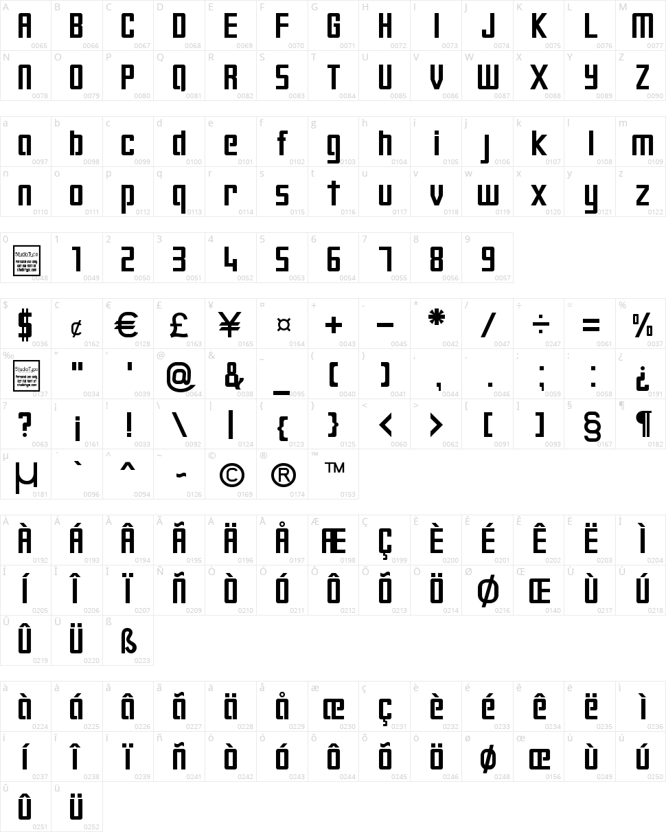Digiform Character Map