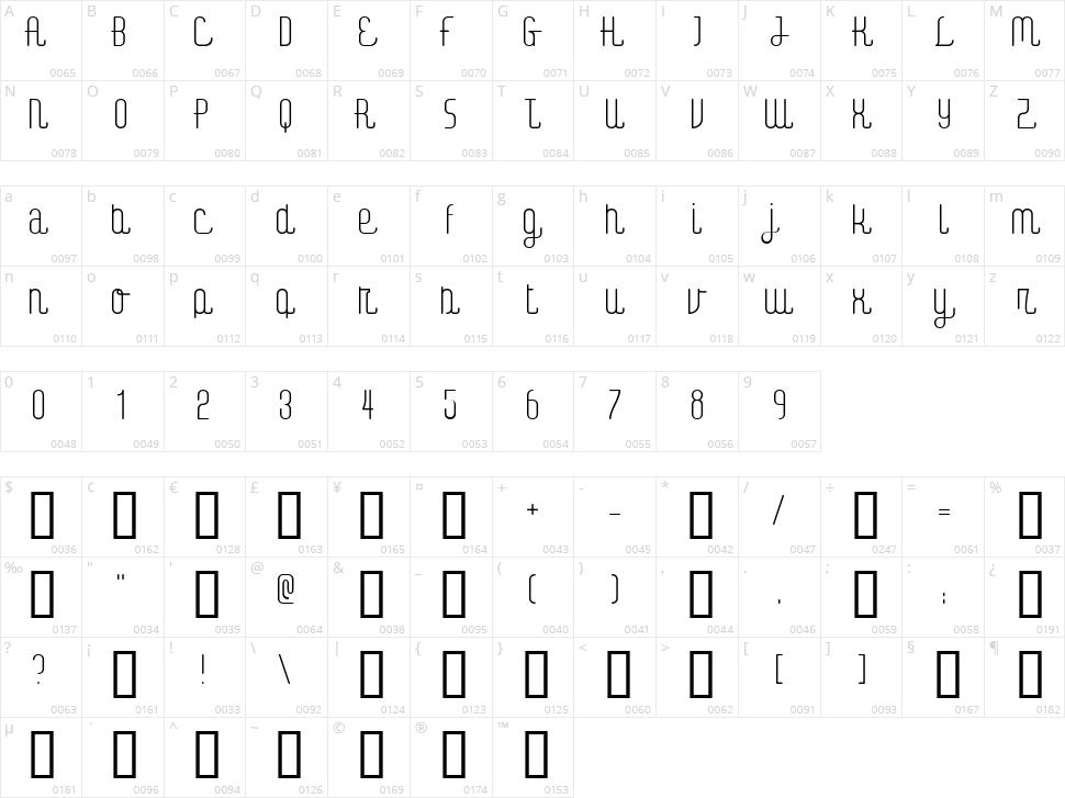 Digital Kauno Character Map