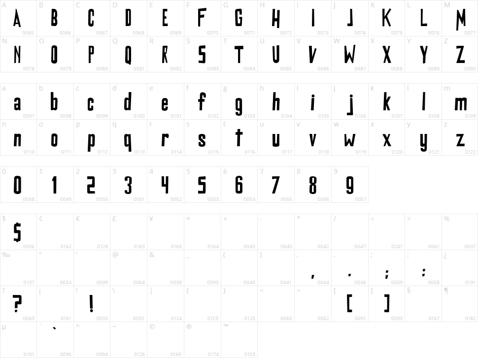 DiGrado Character Map
