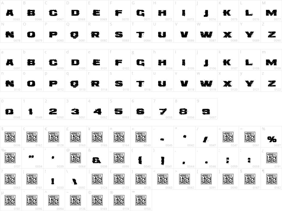 Dirtee Box Character Map