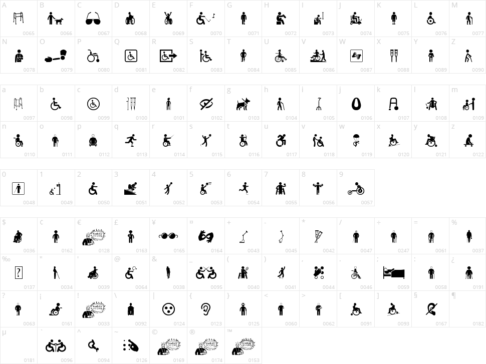 Disabled Icons Character Map