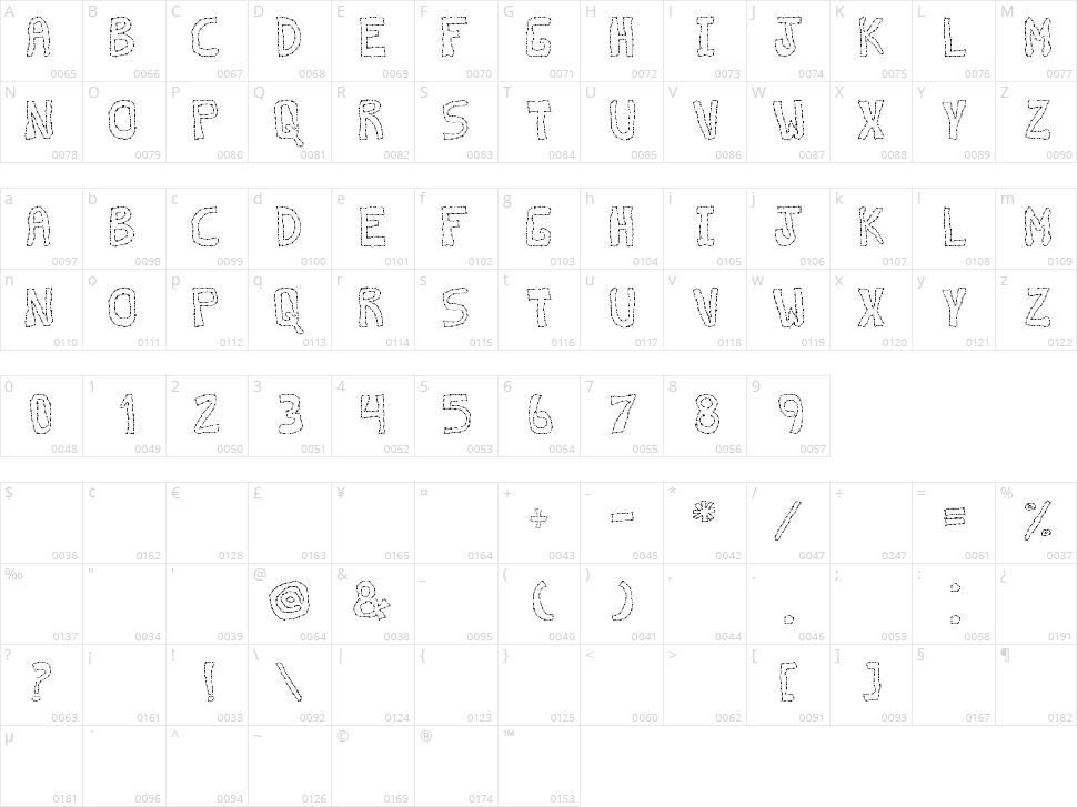 Discontinuo TFB Character Map