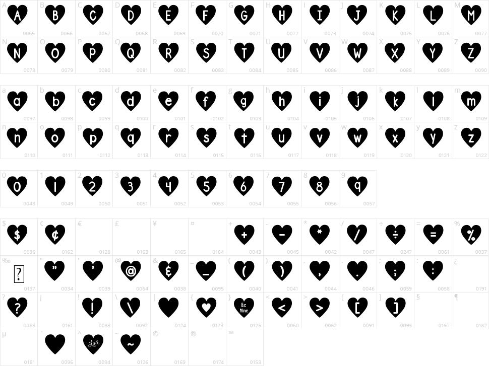 DJB Shape Up Hearts Character Map
