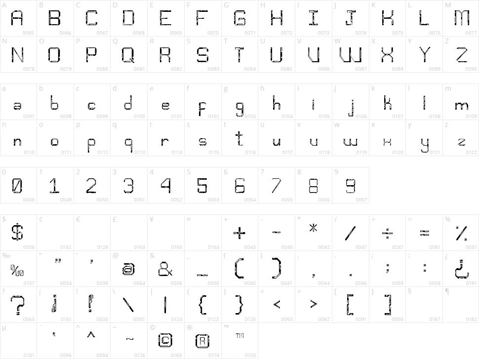 Djentfont Character Map
