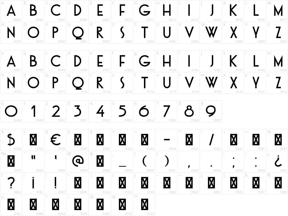 DK Otago Character Map