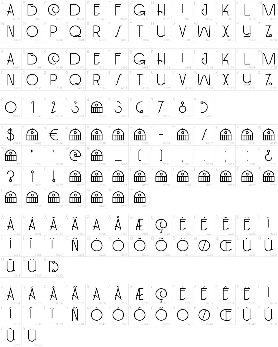 DK Paviljoen Character Map