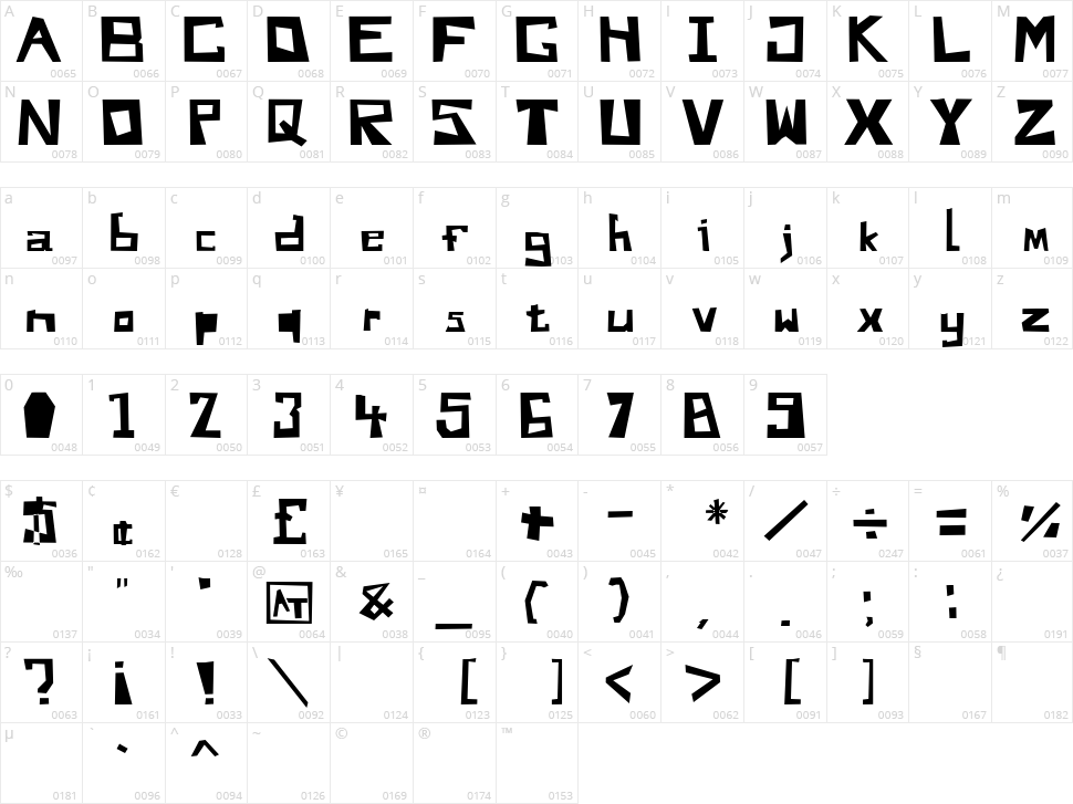 Do You Like My Font Andy Character Map