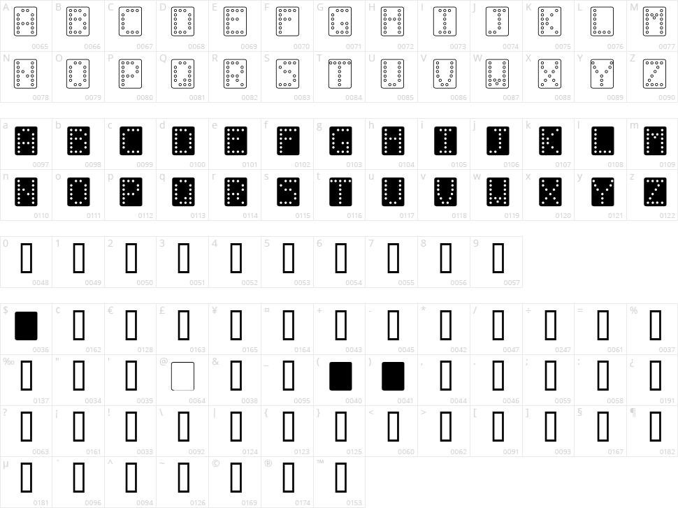 Domino Character Map