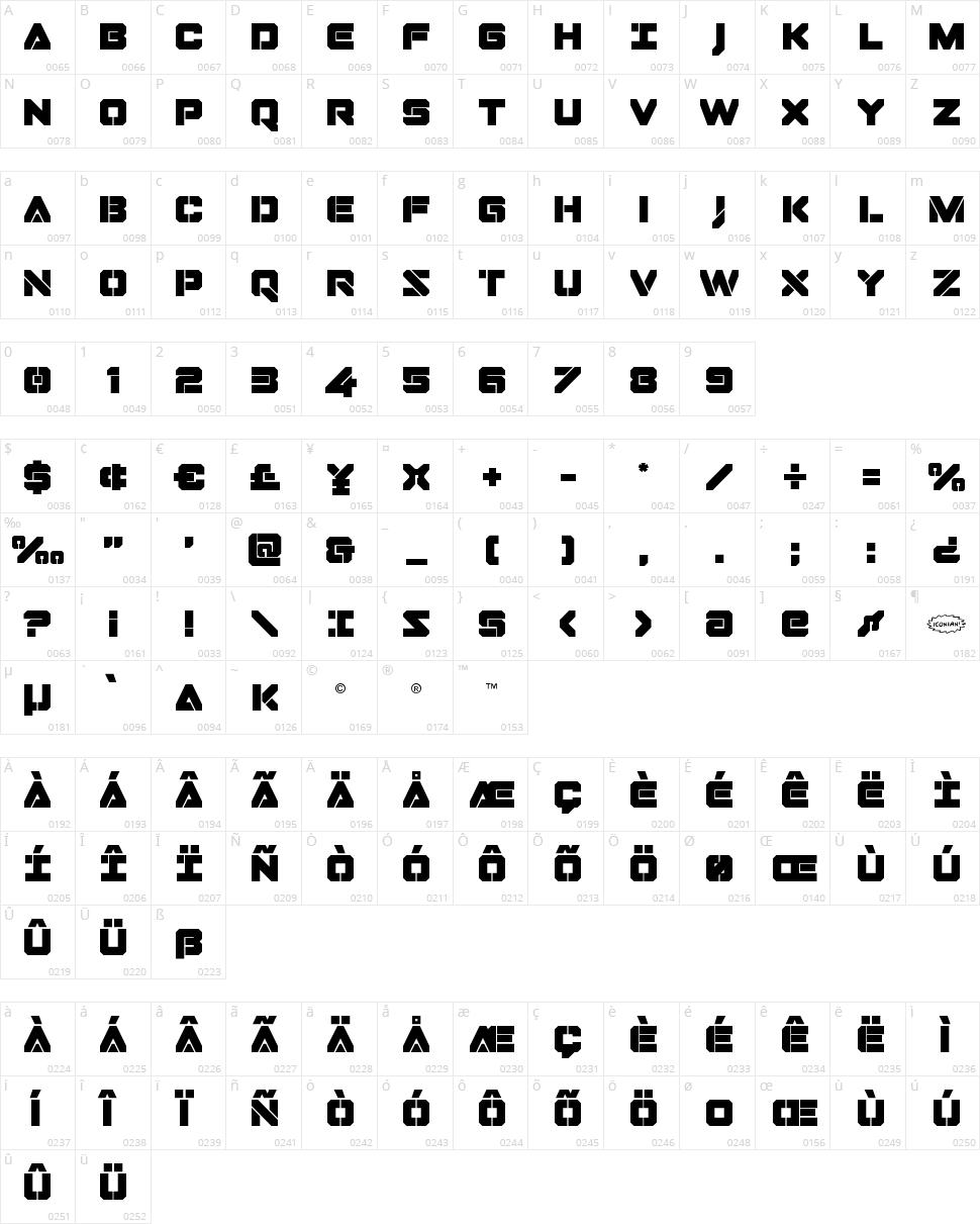 Domino Jack Character Map