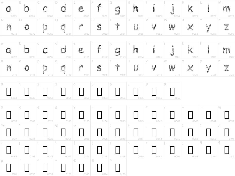 Doodlowers Character Map