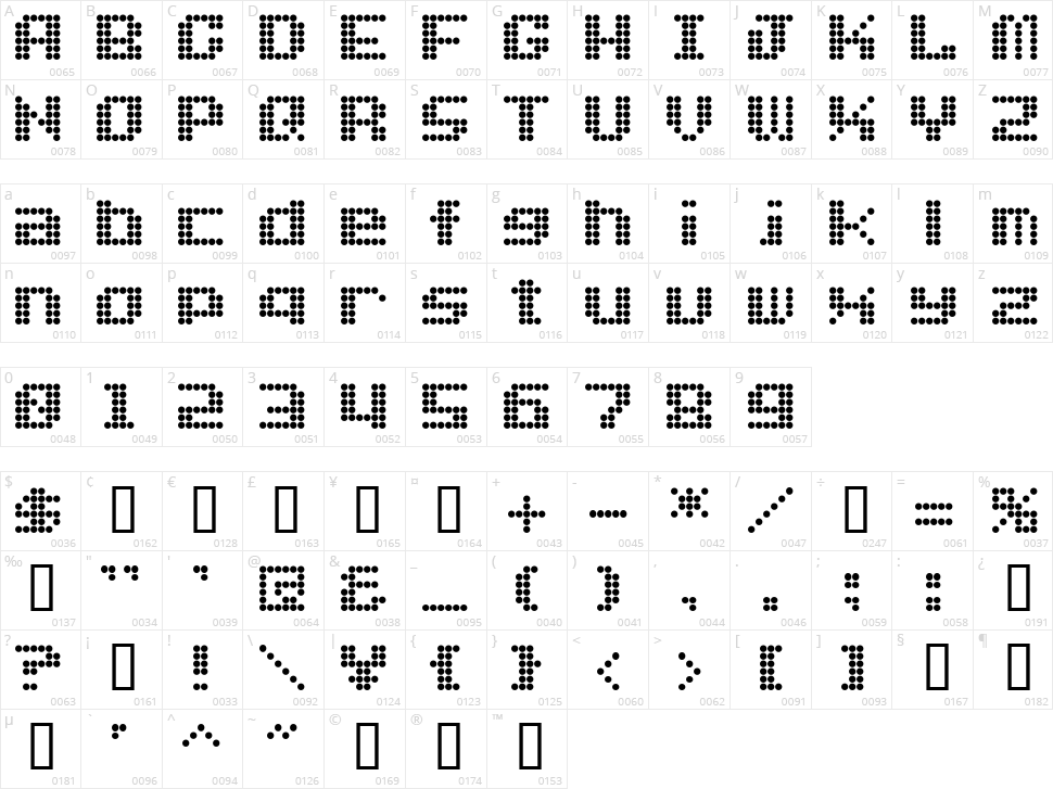 Dot Font Character Map