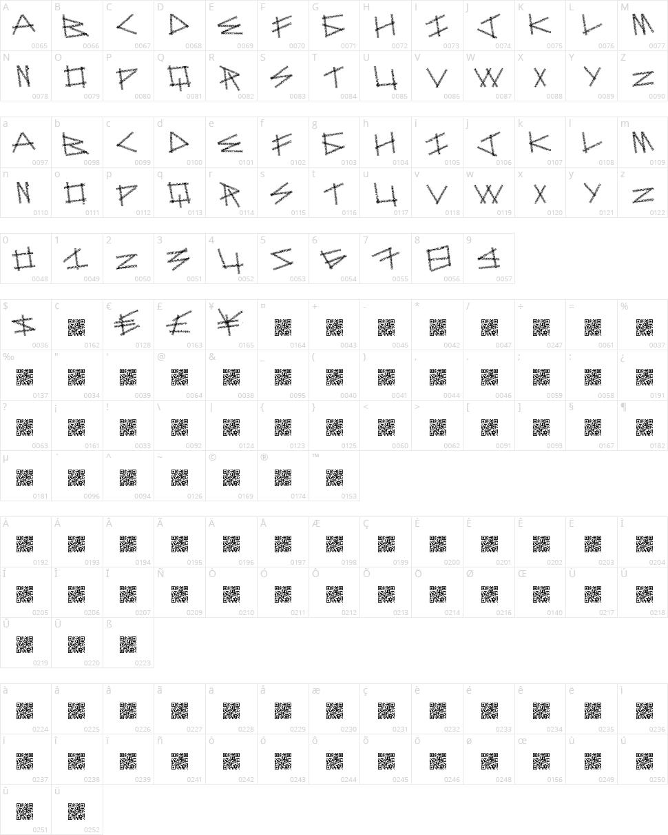 Dot Sticks Character Map