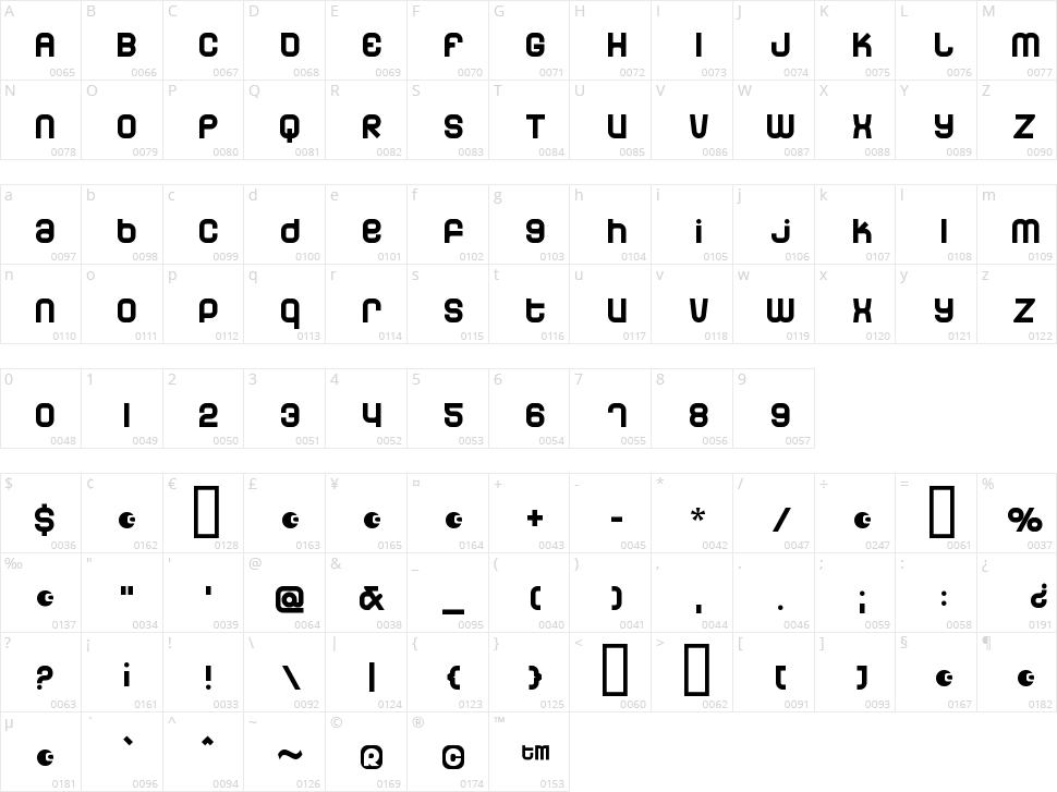 Dunebug Character Map