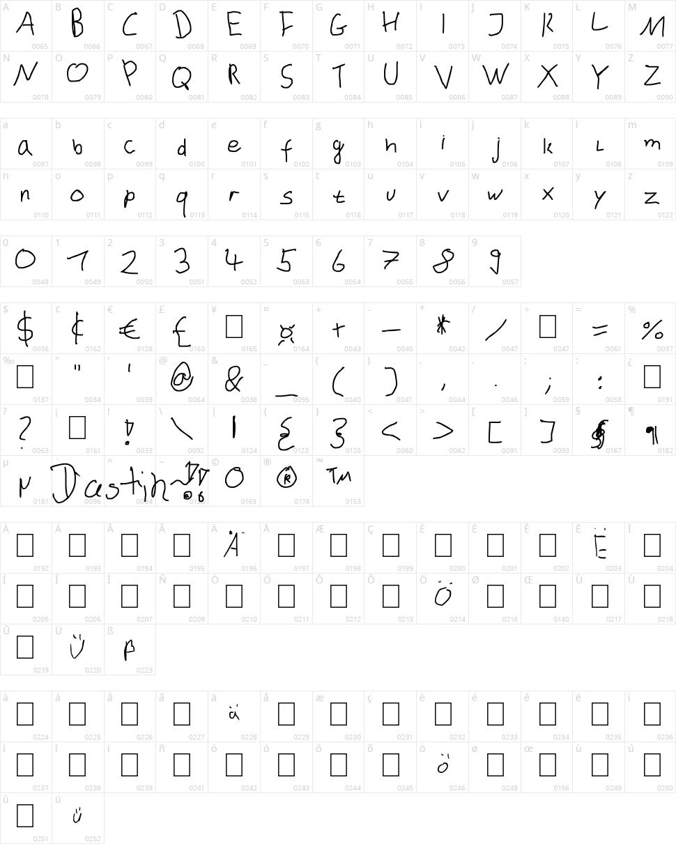 Dustinhofont Character Map