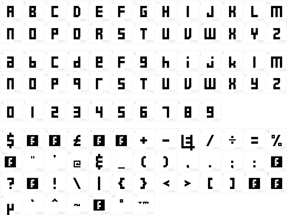 E4 2017 Character Map