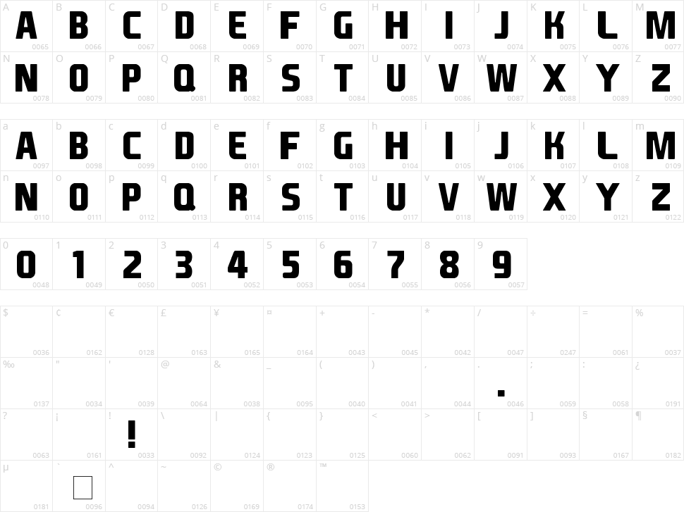 EA Font Character Map