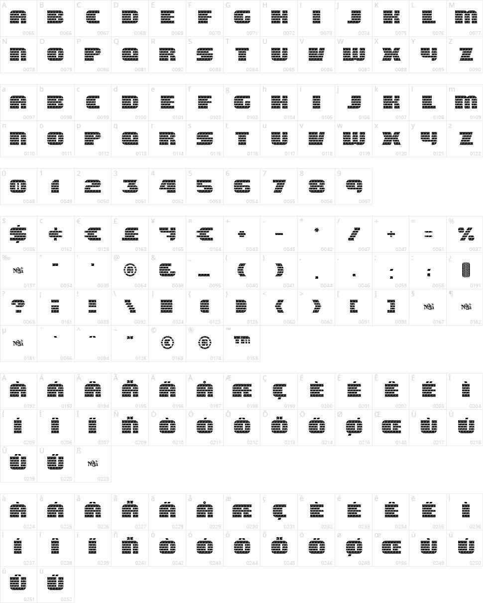 Eagle GT II Character Map