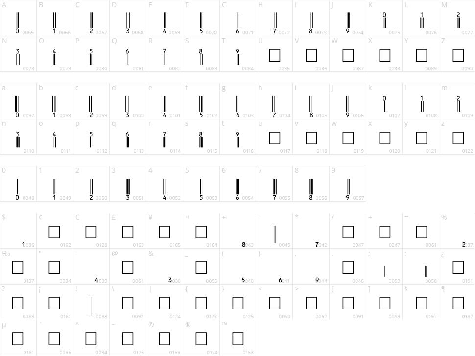 eanbwrp36tt Character Map