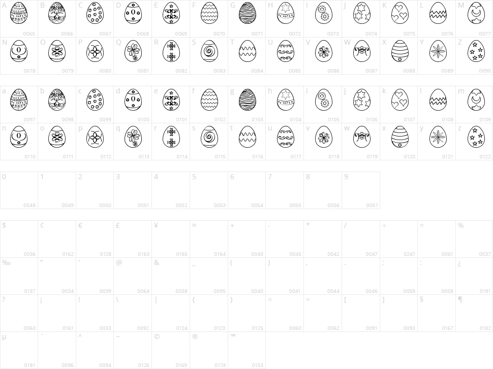 Easter Eggs ST Character Map