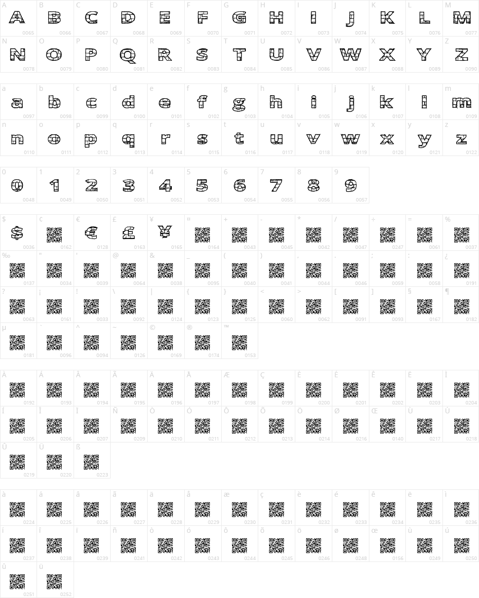 Easy Bricks Character Map