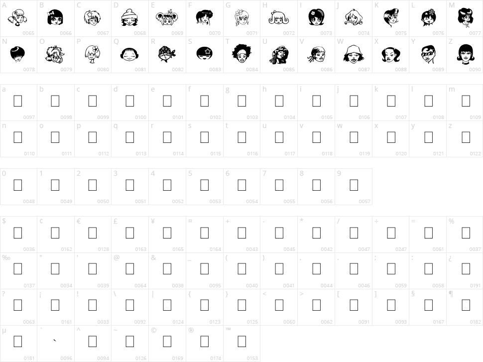 Egirlz Character Map