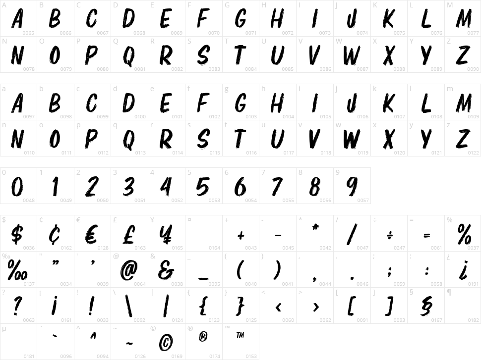 Elbrush Character Map