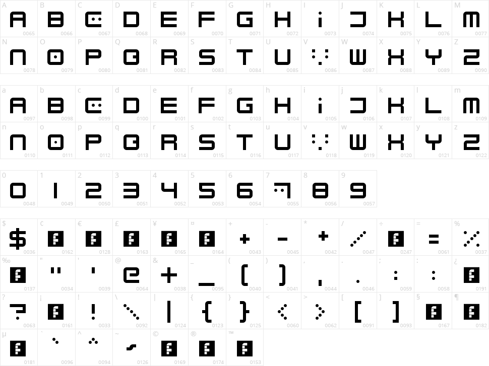 Electrobyte Character Map