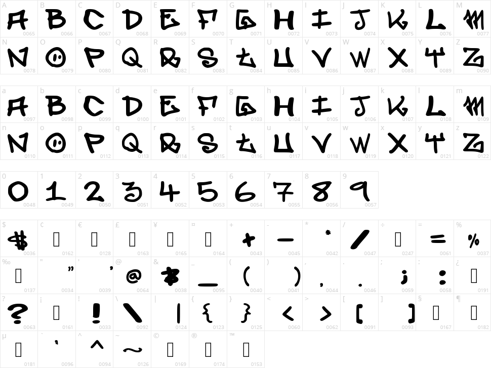 Elevenoone Character Map