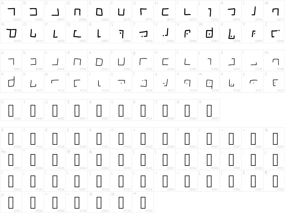 Ellian Font Character Map