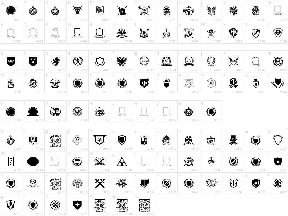 Emblem Character Map