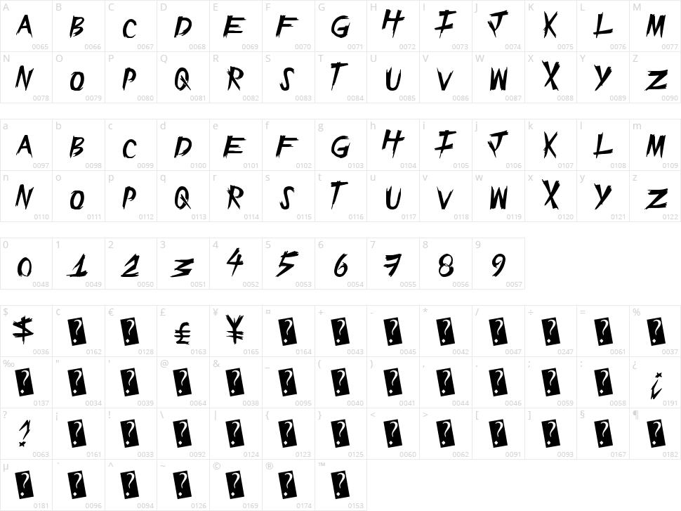 Epic Slash Character Map