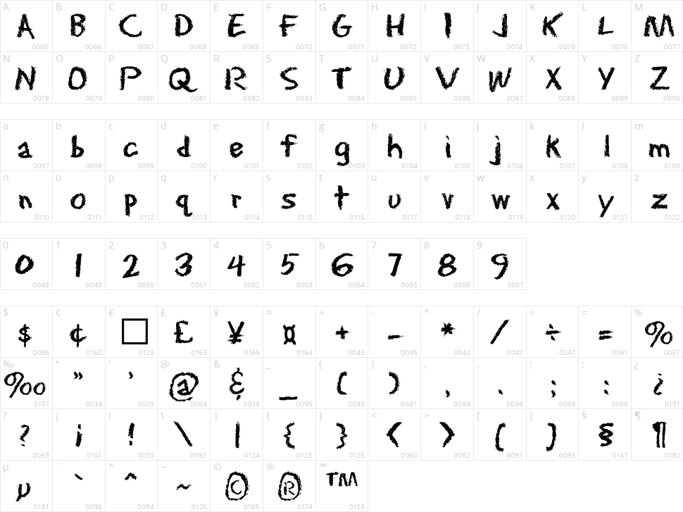 Eraser Character Map